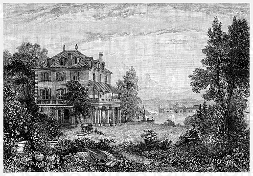 Historical illustration from the 19th Century, Villa Diodati, an estate on Lake Geneva in Cologny, a resident of George Gordon Noel Byron, 6th Baron B...