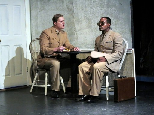 Capt. Taylor (L, Buck Hinkle) meets Capt. Davenport (R, Chaz Reuben) for the first time. Photo by Jonathan Slaff.