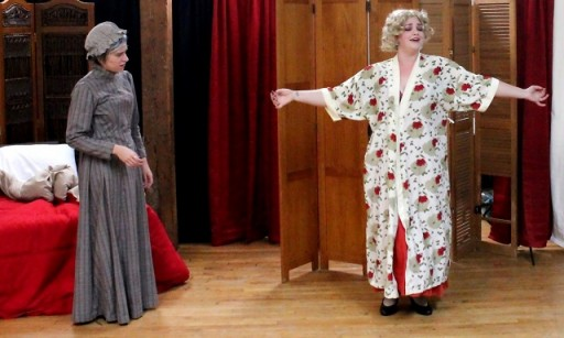 Mae West (Brigette Estola, right) teaches Sophia Tolstoy (Kirsten Egenes) the shimmy in Bad Quarto Productions' 2017 production of Anna Karenina Lives! By Germaine Shames. Directed by Tony Tambasco. Costumes by Joanne Famiglietti. Photo by James M. Smith.
